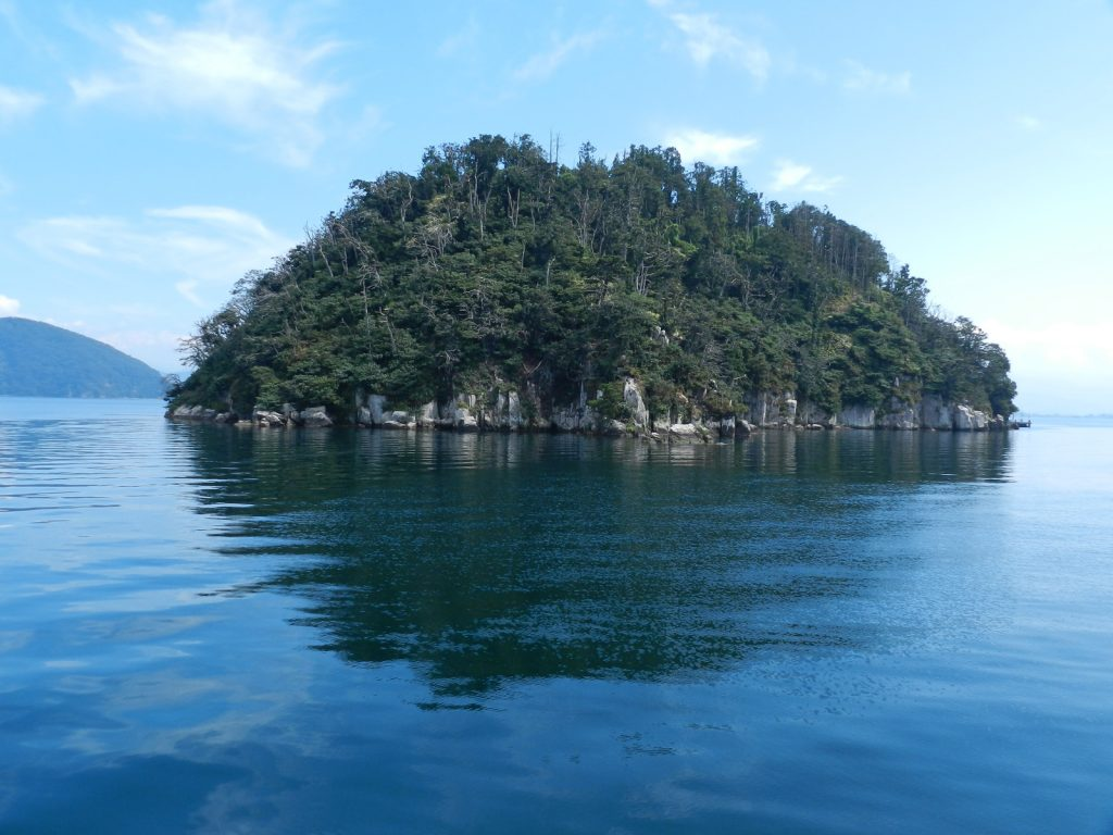 琵琶湖に浮かぶ4つの島々と琵琶湖に架かる2つの橋 竹生島